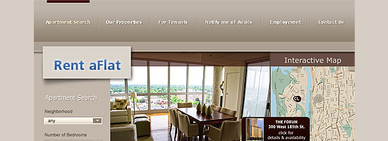Web site design development for the City Life rentals company situated in New York