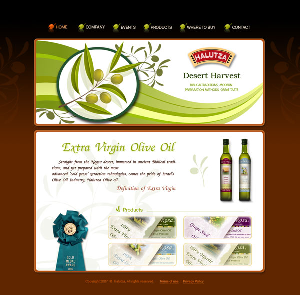 Elegant design of web site for olive oil company
