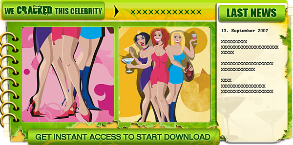 Creative graphic element for a nude celebrity website